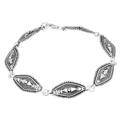 Tesbihane - Pave Set Rhombic 925 Sterling Silver Women's Bracelet