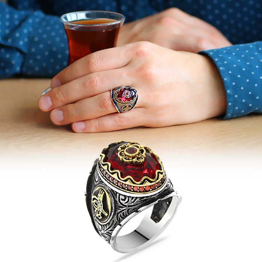 Tugra 925 Sterling Silver Sculpted Cut Red Zirconia Mens Ring