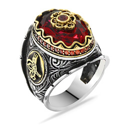 Tugra 925 Sterling Silver Sculpted Cut Red Zirconia Mens Ring - Thumbnail