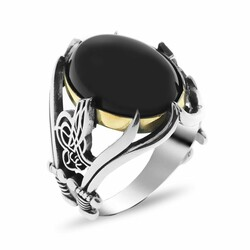 Men's ring in 925 sterling silver with black onyx, embroidered Tugra and a sword - Thumbnail
