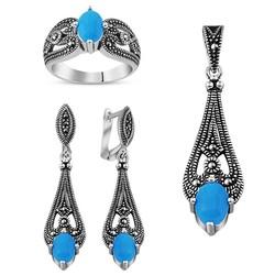 Tesbihane - Turquoise 925 Sterling Silver 3 pcs Accessory Set