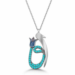 925 sterling silver necklace and perfume set with turquoise stone from Elif Fav - Thumbnail