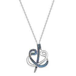 925 sterling silver necklace with zirconia, double plated in sterling silver - Thumbnail