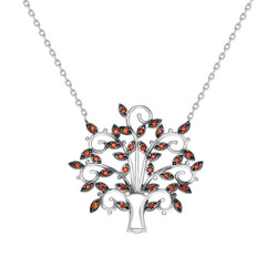 Orange Zircon Stone Jafur Design 925 Sterling Silver Women's Necklace - Thumbnail