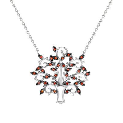 Orange Zircon Stone Jafur Design 925 Sterling Silver Women's Necklace