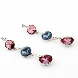 Welch Double Color Swarovski Women's Earrings - Thumbnail