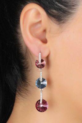Welch Double Color Swarovski Women's Earrings