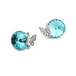 Welch Kelebek Mavi Swaroski Taşlı Kadın Küpe - Thumbnail
