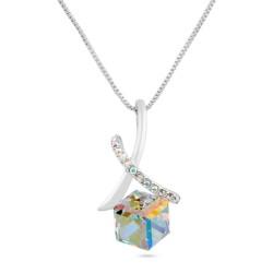 Welch Cube Shaped Swarovski Necklace - Thumbnail
