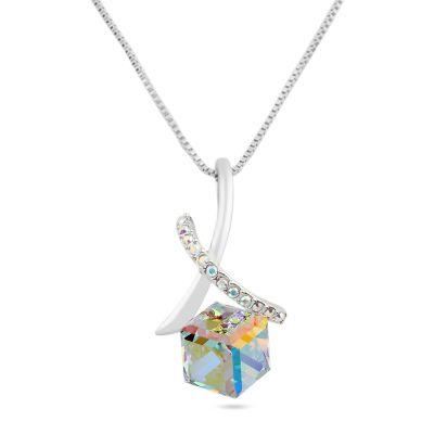 Welch Cube Shaped Swarovski Necklace