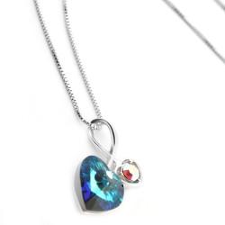 Welch Leaf Heart Swarovski Necklace - Thumbnail