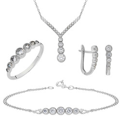 Tesbihane - Y Design Zirconia 925 Sterling Silver Galaxia 4 pcs Accessory Set