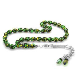 Green Zircon Stone Faded Barley Cut Amber Mosaic Prayer Beads With Metal Tassels - Thumbnail