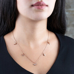 Combination Dragonfly-Duck-Cat-Fish Pink 925 Sterling Silver Good Luck Necklace - Thumbnail