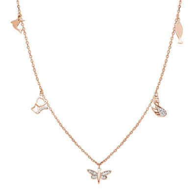 Combination Dragonfly-Duck-Cat-Fish Pink 925 Sterling Silver Good Luck Necklace