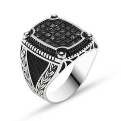 Tesbihane - Chain Design Black Zircon 925 Sterling Silver Men's Ring