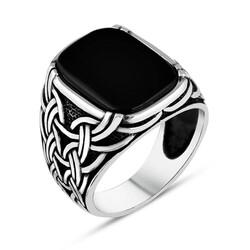 Anı Yüzük - Zincir Motifli Siyah Oniks Taşlı Gümüş Erkek Yüzük