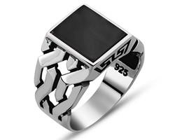 Tesbihane - Black Onyx Chain Design 925 Sterling Silver Men's Ring