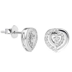 Tesbihane - Zirconia Heart in Heart Design 925 Sterling Silver Earrings