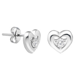 Tesbihane - Zirconia Heart Design 925 Sterling Silver Earrings
