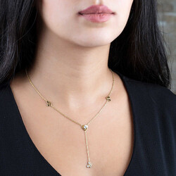 Lucky Necklace 925 Sterling Silver Gold Butterfly Design with Zircon Stone - Thumbnail