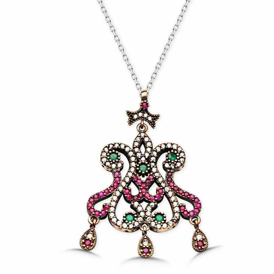 Zircon stone hanging flower model necklace authentic نموذج