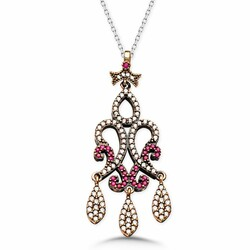real zircon drop pendant necklace - Thumbnail