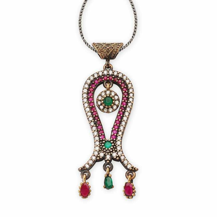 Tulip necklace with original zircon stones