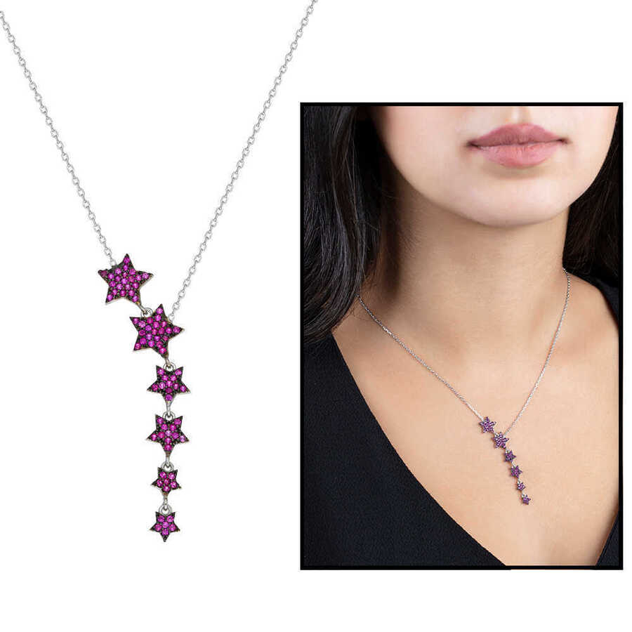 925 sterling silver necklace with five star zircon stone design