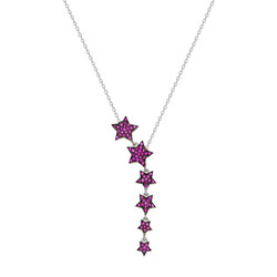 925 sterling silver necklace with five star zircon stone design - Thumbnail