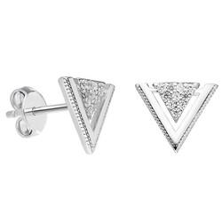 Tesbihane - Zirconia V Design 925 Sterling Silver Earring