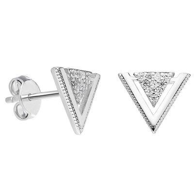 Zirconia V Design 925 Sterling Silver Earring