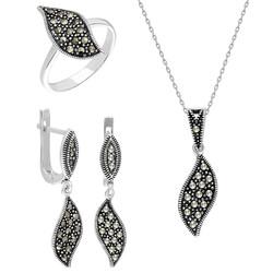 Tesbihane - Zircon Leaf Design 925 Sterling Silver 3 pcs Accessory Set