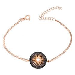 Tesbihane - Zirconia Round Star Design 925 Sterling Silver Women's Bracelet