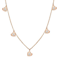 Pink 925 Sterling Silver Zircon Solitaire Heart Lucky Necklace - Thumbnail