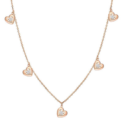 Pink 925 Sterling Silver Zircon Solitaire Heart Lucky Necklace