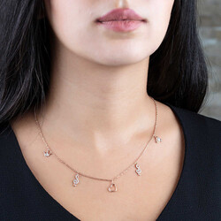 Zircon Solitaire-Heart-Left Crown Combination Rose 925 Sterling Silver Necklace - Thumbnail