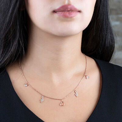 Zircon Solitaire-Heart-Left Crown Combination Rose 925 Sterling Silver Necklace