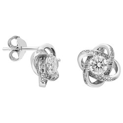 Tesbihane - Zirconia Solitaire Milkyway Design 925 Sterling Silver Earrings