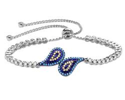 Tesbihane - Zirconia Turquoise Evil Eye 925 Sterling Silver Women's Bracelet